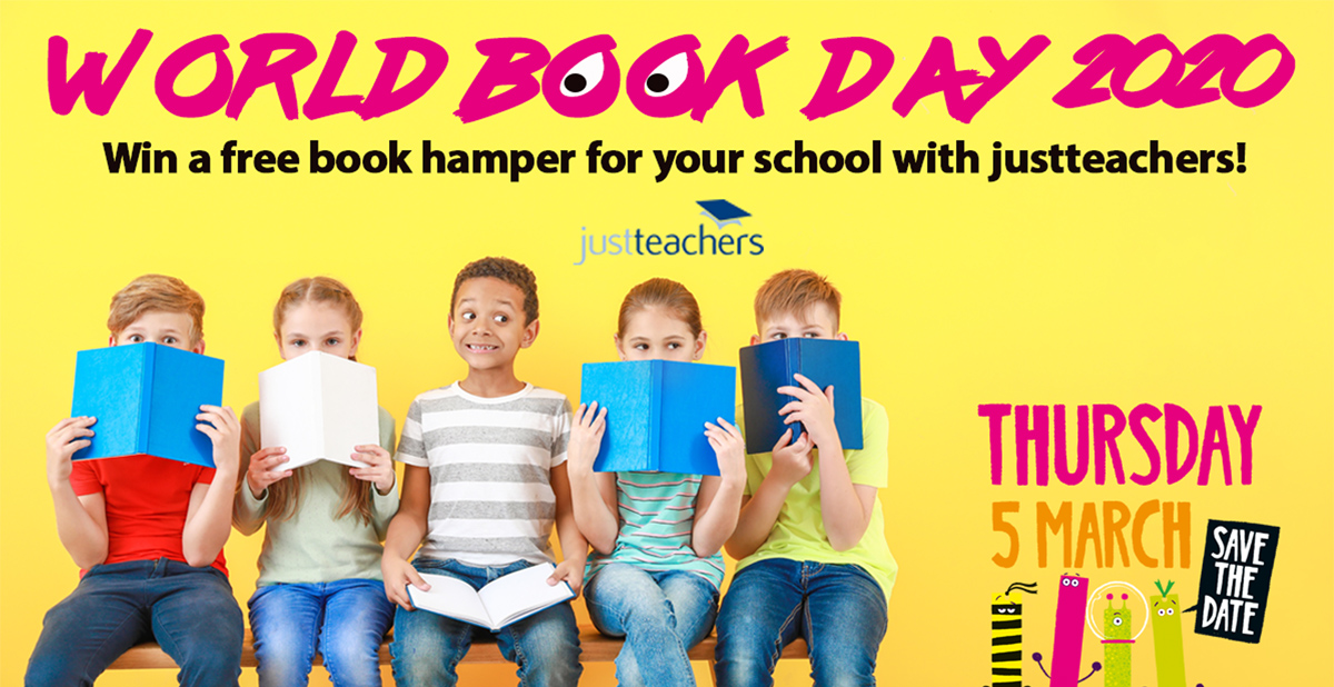 Win a book hamper for your school with justteachers for World Book Day 2020!